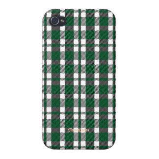 Tartan Green Black White Pattern Savvy iPhone 4 Cases