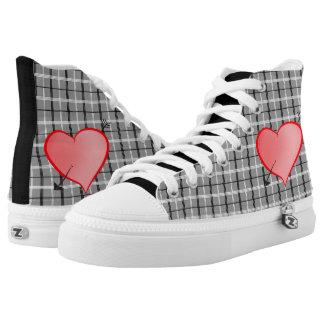 Tartan Grey Heart Cartoon Pink Romantic Girly Chic High Tops