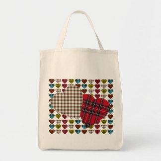 Tartan Heart Grocery Tote Bag