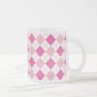 Tartan,hot pink,white,peach,girly,cute,fun,happy, frosted glass mug