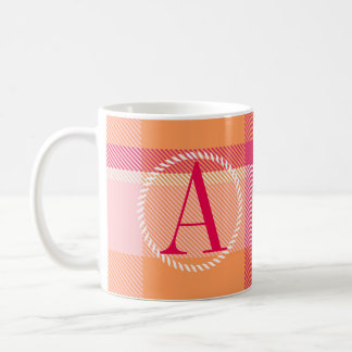 Tartan Orange and Pink Monogram ID210 Coffee Mug