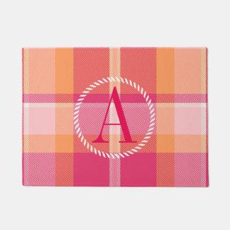 Tartan Orange and Pink Monogram ID210 Doormat