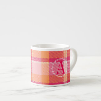 Tartan Orange and Pink Monogram ID210 Espresso Cup