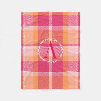 Tartan Orange and Pink Monogram ID210 Fleece Blanket