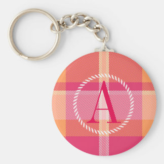 Tartan Orange and Pink Monogram ID210 Key Ring