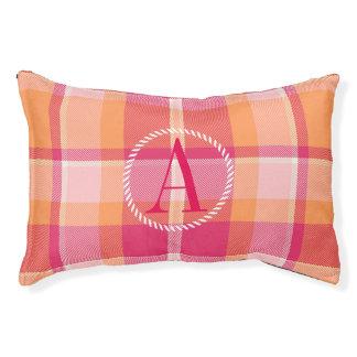 Tartan Orange and Pink Monogram ID210 Pet Bed