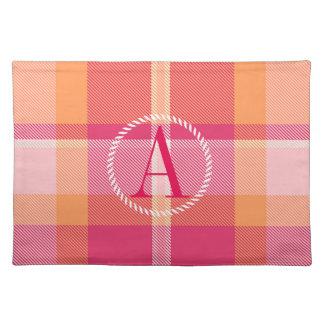 Tartan Orange and Pink Monogram ID210 Placemat