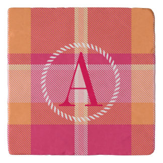 Tartan Orange and Pink Monogram ID210 Trivet