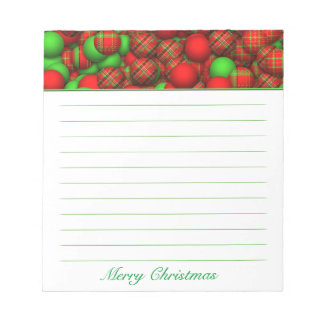 Tartan Pattern Christmas Tree Ornaments Notepad