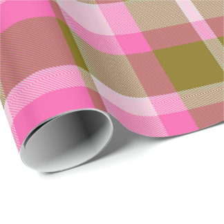 Tartan Pattern Hot Pink and Olive ID210 Wrapping Paper
