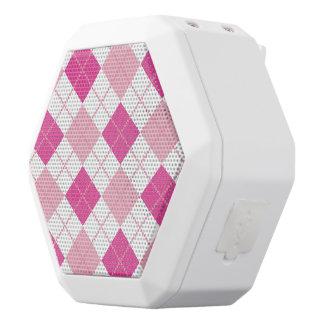 Tartan,pattern,hot pink,white,peach,girly,cute,fun white boombot rex bluetooth speaker