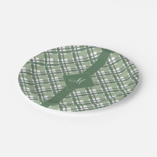 Tartan pattern of stripes and squares 7 inch paper plate