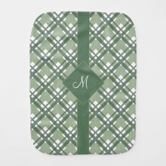 Tartan pattern of stripes and squares baby burp cloth
