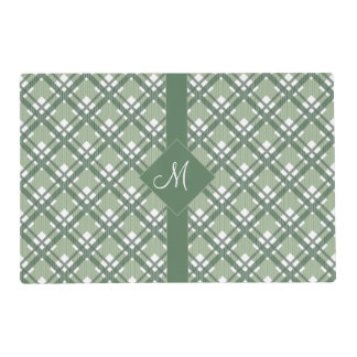 Tartan pattern of stripes and squares laminated placemat