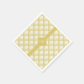 Tartan pattern of stripes and squares disposable serviettes
