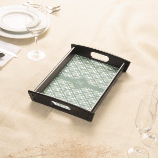 Tartan pattern of stripes and squares service trays