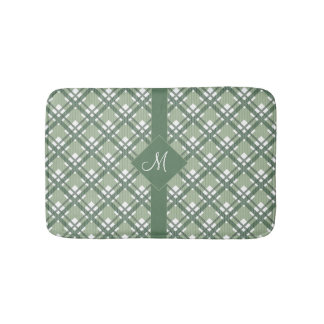 Tartan pattern of stripes and squares bath mats