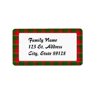 Tartan Plaid (1) Christmas Background Address Label