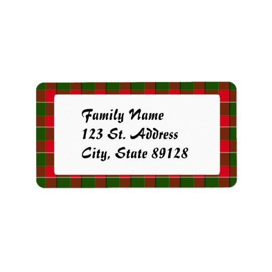 Tartan Plaid (1) Christmas Background Label