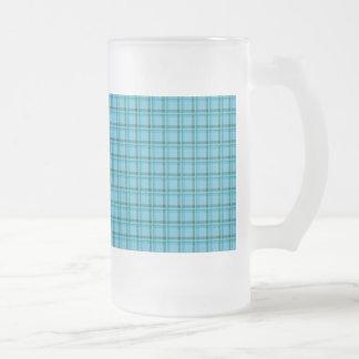 Tartan Plaid Light Blue and Green Glass Beer Mug