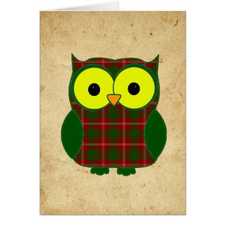 Tartan Plaid Owl Birthday Card