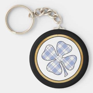 Tartan Plaid Pattern Collection - Blue 04 Basic Round Button Key Ring