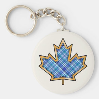 Tartan Plaid Pattern Collection - Blue 09 Basic Round Button Key Ring