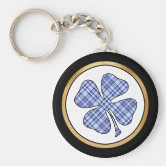 Tartan Plaid Pattern Collection - Blue 10 Basic Round Button Key Ring