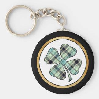 Tartan Plaid Pattern Collection - Green - 02 Basic Round Button Key Ring
