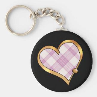 Tartan Plaid Pattern Collection - Pink 07 Basic Round Button Key Ring