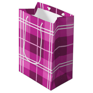 Tartan Plaid Style Pattern in Shades of Pink Medium Gift Bag