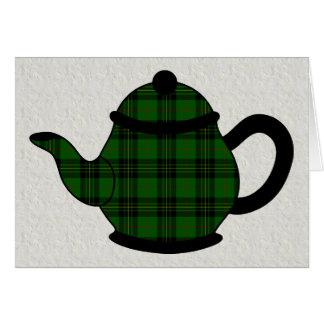 Tartan Plaid Teapot V6 Birthday Card