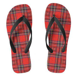 Tartan plaids pattern royal red fabric thongs