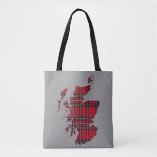 Tartan Scotland Map Tote Bag
