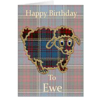 "Tartan Sheep ""Happy Birthday to Ewe"" Funny Card"