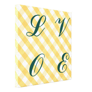 Tartan,stripes,yellow,white,trendy,fun,happy,girly Stretched Canvas Prints