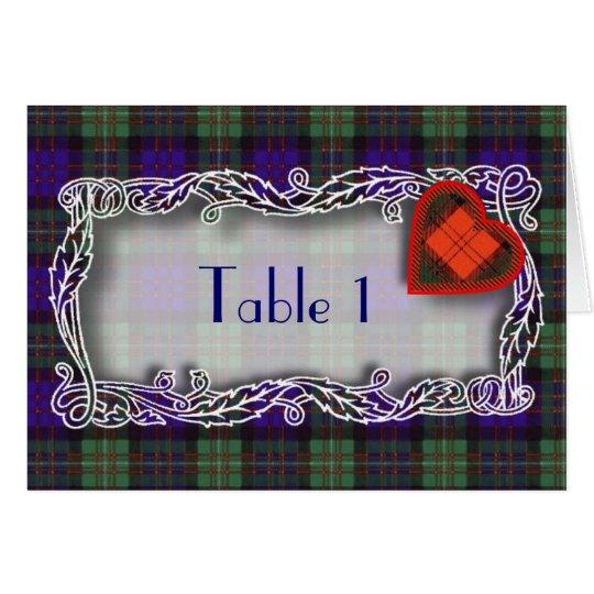 Tartan Table number card - Macdonald of Glengarry