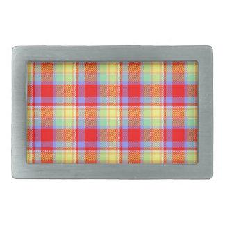 Tartan texture rectangular belt buckle