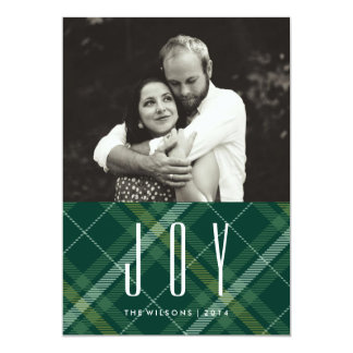 Tartan Tidings JOY Plaid Gingham Holiday PhotoCard Card
