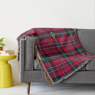 Tartan with (or without) your Initial Throw Blanket