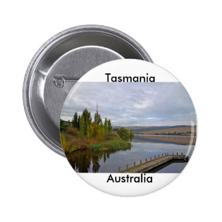 Tasmania, Australia:A beautiful lake and bridge 6 Cm Round Badge