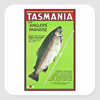 Tasmania Australia Anglers Paradise Fishing Square Sticker