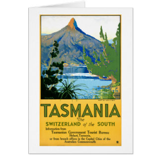 Tasmania Vintage Travel Poster Restored Card
