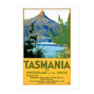 Tasmania Vintage Travel Poster Restored Postcard