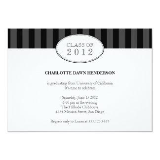 "Tasteful black stripe graduation class invitation 5"" x 7"" invitation card"