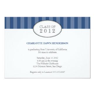"Tasteful blue stripe graduation class invitation 5"" x 7"" invitation card"