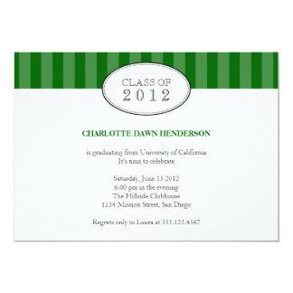 """Tasteful green stripe graduation class invitation 5"""" x 7"""" invitation card"""
