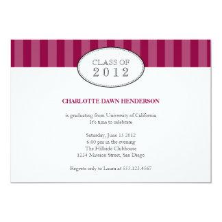"Tasteful maroon stripe graduation class invitation 5"" x 7"" invitation card"
