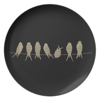 Tasteful Musical Notes Birds on a Wire Plate