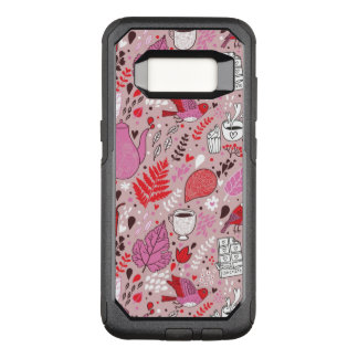Tasty pattern with birds and flowers OtterBox commuter samsung galaxy s8 case